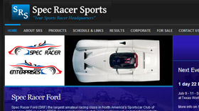 Spec Racer Sports website designed by Gaddy Web Design