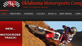 Oklahoma Motorsports Complex website design by Gaddy Web Design